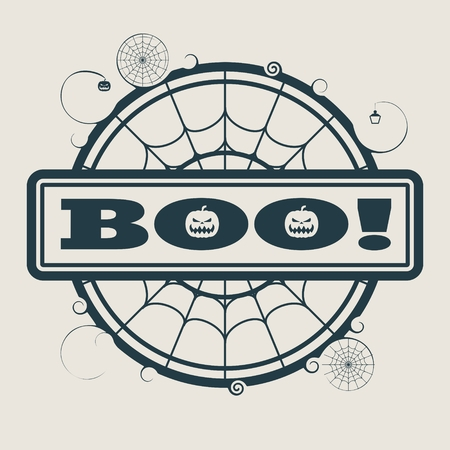 spider  net: Stamp with Boo text and spider net. Round shape