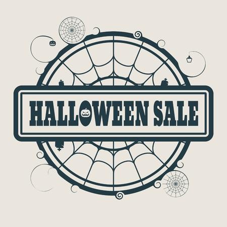 spider  net: Stamp with Halloween Sale text and spider net. Round shape
