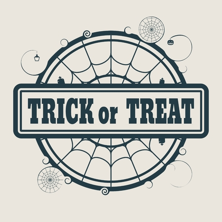 spider  net: Stamp with Trick or Treat text and spider net. Round shape
