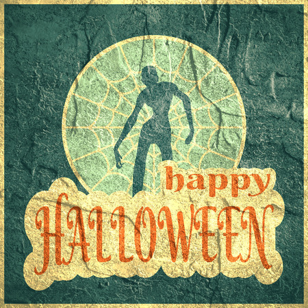 spider  net: Halloween party background. Zombie silhouette on spider net circle. Concrete texture. Stock Photo