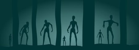 Zombie silhouettes in dark forest. Halloween theme background Vectores