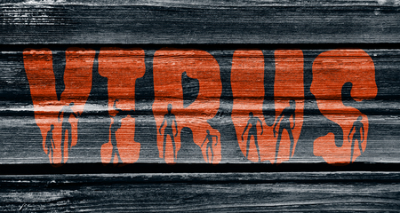 walking corpse: Virus word and silhouettes on them. Halloween theme background. Wood texture