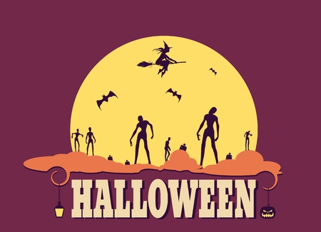 Zombie silhouettes on moonlight. Halloween theme background. Witch silhouette on a broomstick Illustration