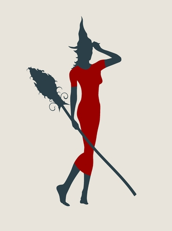 Vector illustration of standing young witch icon. Witch silhouette with a broomstick. Halloween relative image