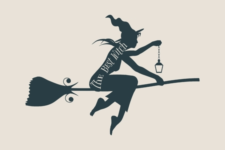 night dress: Illustration of flying young witch icon. Witch silhouette on a broomstick. Lamp in hand. The best witch text. Halloween relative image. Illustration