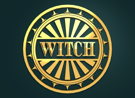 3d witch: Stamp with Witch text and hats. Round shape seal. 3d rendering. Metallic material. Golden seal