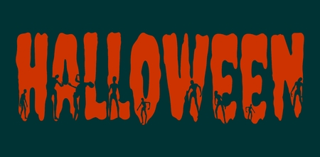 walking corpse: Halloween word and silhouettes on them. Halloween theme background