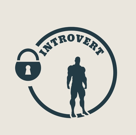 modest: introvert simple icon metaphor. image relative to human psychology. muscular man in the locked circle Illustration