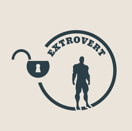 modest: extrovert simple icon metaphor. image relative to human psychology. muscular man in the locked circle