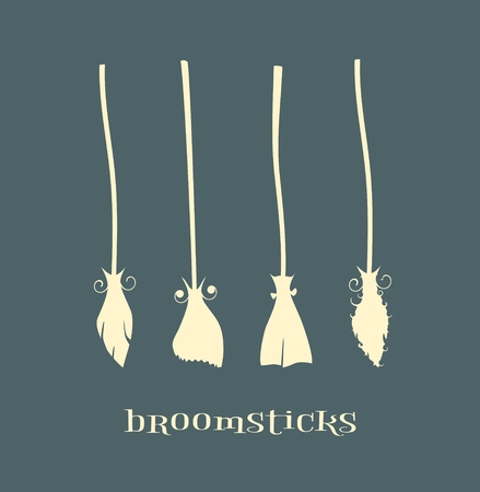 broomsticks: Witches broomsticks icons set. Halloween accessories. vector illustration