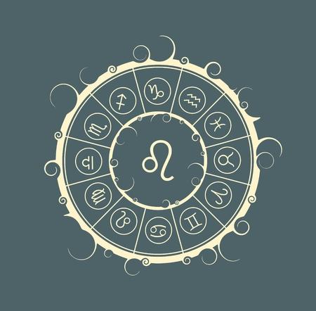 astrological: Astrological symbols in the circle. Vector illustration. Lion sign