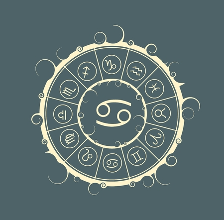 Astrological symbols in the circle. Vector illustration. Cancer sign