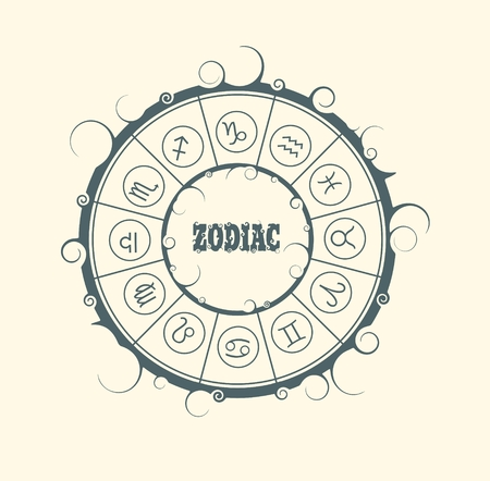 astrologer: Astrological symbols in the circle. Vector illustration. Zodiac text