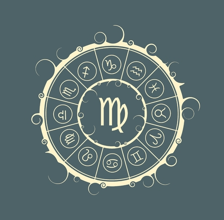 maiden: Astrological symbols in the circle. Vector illustration. Maiden sign