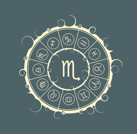 augury: Astrological symbols in the circle. Vector illustration. Scorpion sign
