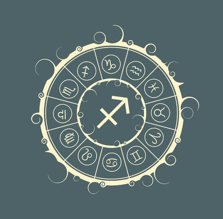 augury: Astrological symbols in the circle. Vector illustration. Archer sign