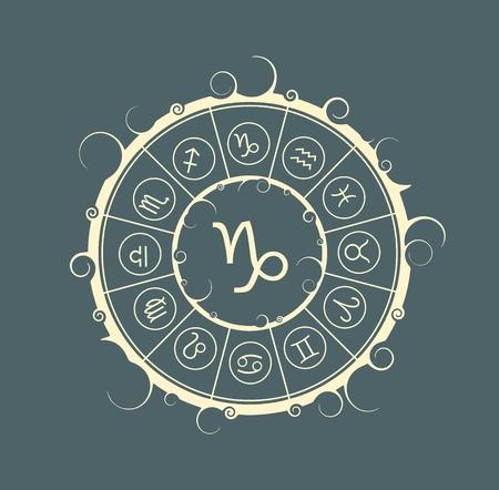 augury: Astrological symbols in the circle. Vector illustration. Capricorn sign Illustration