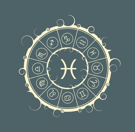 Astrological symbols in the circle. Vector illustration. Fish sign Illustration