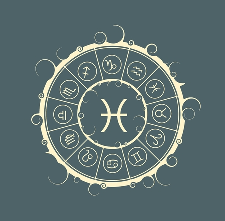 Astrological symbols in the circle. Vector illustration. Fish sign Illustration