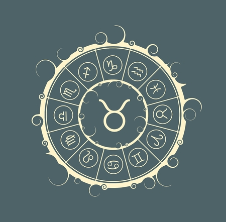augury: Astrological symbols in the circle. Vector illustration. Bull sign