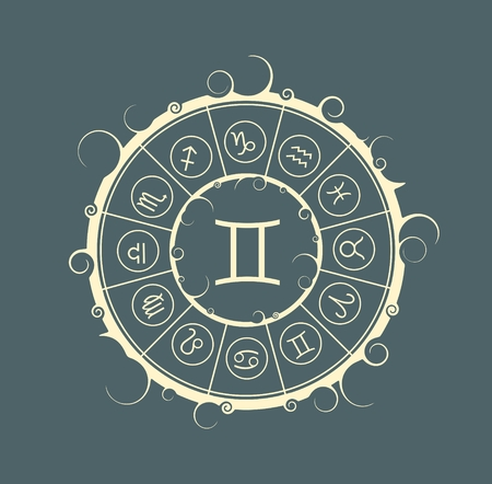 augury: Astrological symbols in the circle. Vector illustration. Twins sign