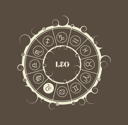 augury: Astrological symbols in the circle. Vector illustration. Lion sign
