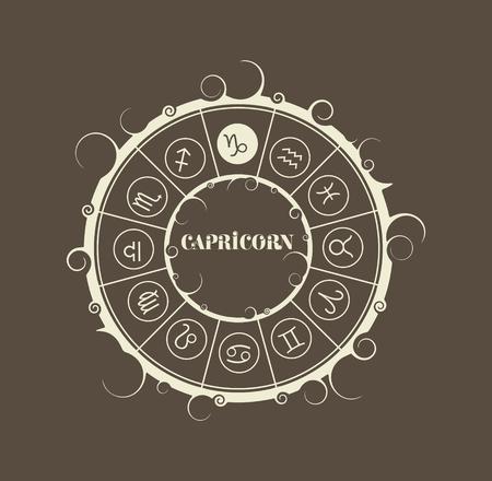astrologer: Astrological symbols in the circle. Vector illustration. Capricorn sign Illustration