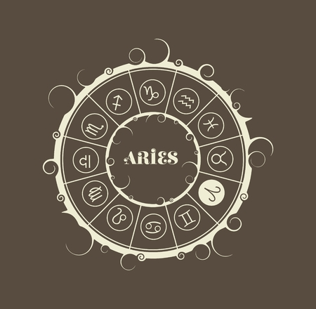 divination: Astrological symbols in the circle. Vector illustration. Ram sign