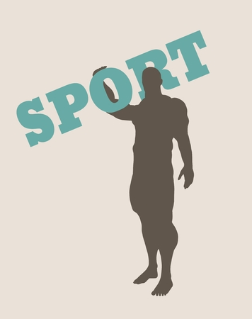muscular: Muscular man holding sport word. Vector silhouette. Bodybuilding relative image Illustration