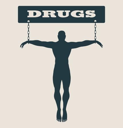 unhealth: Man chained to drugs word. Unhealth addicition metaphor. Vector illustration. Illustration