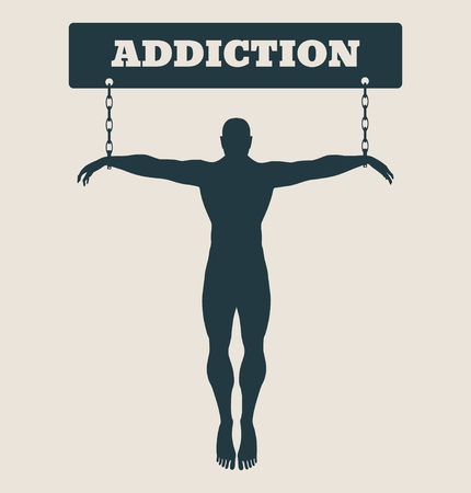 unhealth: Man chained to Addcition word. Unhealth addicition metaphor. Vector illustration.