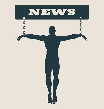 unhealth: Man chained to news word. Unhealth addicition metaphor. Vector illustration. Illustration