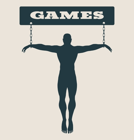 unhealth: Man chained to internet word. Unhealth addicition metaphor. Vector illustration.