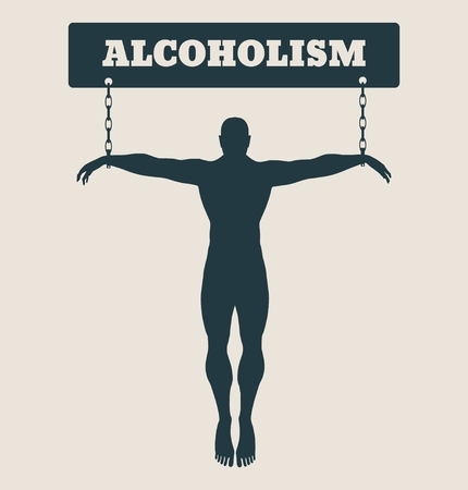 unhealth: Man chained to alcohol word. Unhealth addicition metaphor. Vector illustration.