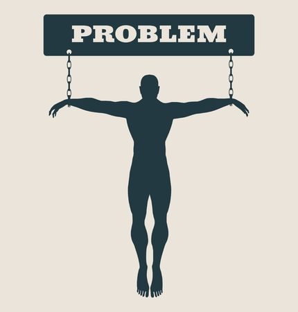 unhealth: Man chained to problem word. Unhealth addicition metaphor. Vector illustration.