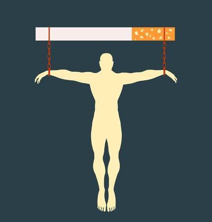 unhealth: Man chained to cigarette. Unhealth addicition metaphor. Vector illustration.