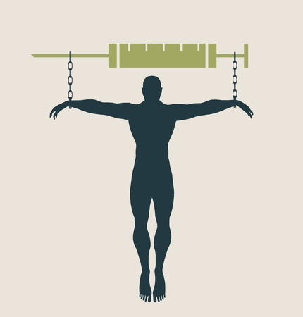 unhealth: Man chained to syringe. Unhealth addicition metaphor. Vector illustration.