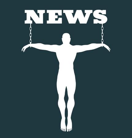 Man chained to news word. Unhealth addicition metaphor. Vector illustration. Illustration