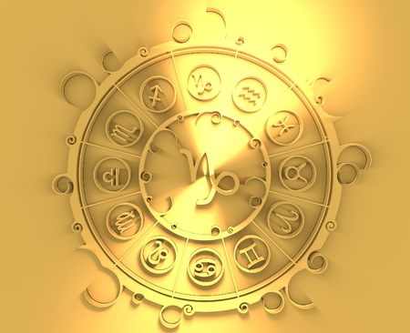 augury: Astrological symbols in the circle. Golden emblem. Metallic material. 3d rendering. The sea goat sign