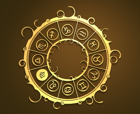 augury: Astrological symbols in the circle. Golden emblem. Metallic material. 3d rendering. The maiden sign Stock Photo