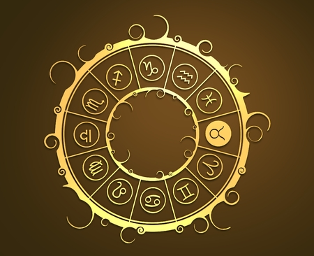augury: Astrological symbols in the circle. Golden emblem. Metallic material. 3d rendering. The bull sign