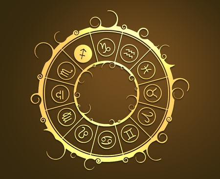 augury: Astrological symbols in the circle. Golden emblem. Metallic material. 3d rendering. The archer sign