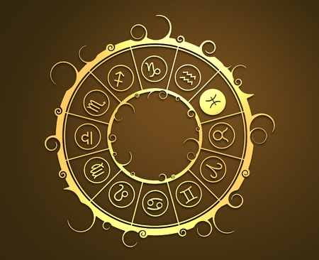 augury: Astrological symbols in the circle. Golden emblem. Metallic material. 3d rendering. The fish sign Stock Photo