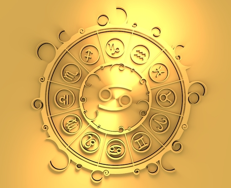 augury: Astrological symbols in the circle. Golden emblem. Metallic material. 3d rendering. The crab sign Stock Photo