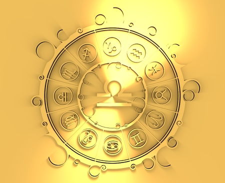 augury: Astrological symbols in the circle. Golden emblem. Metallic material. 3d rendering. The scales sign