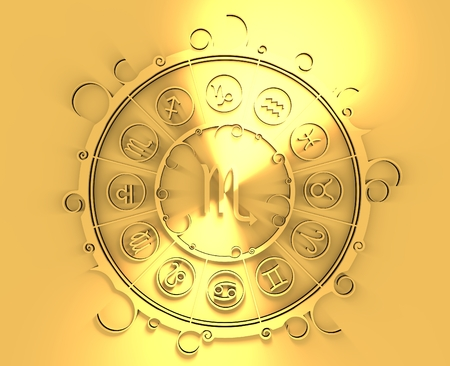 augury: Astrological symbols in the circle. Golden emblem. Metallic material. 3d rendering. The scorpion sign Stock Photo