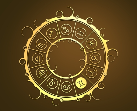 augury: Astrological symbols in the circle. Golden emblem. Metallic material. 3d rendering. The twins sign Stock Photo