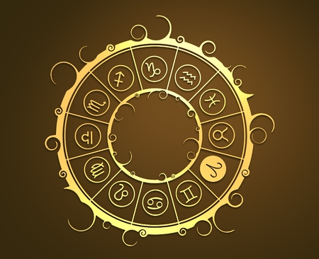 augury: Astrological symbols in the circle. Golden emblem. Metallic material. 3d rendering. The ram sign