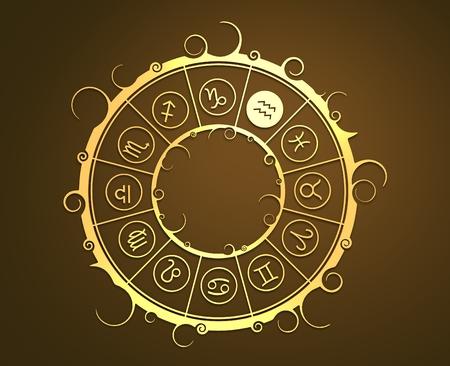 augury: Astrological symbols in the circle. Golden emblem. Metallic material. 3d rendering. Water bearer sign