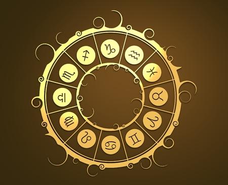 augury: Astrological symbols in the circle. Golden emblem. Metallic material. 3d rendering
